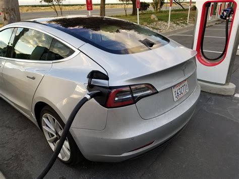 tesla charging tesla model 3 spotted supercharging midway between sf and la