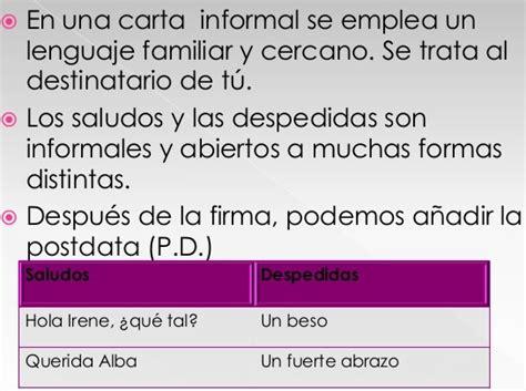 caracteristicas de una carta formal e informal yahoo ejemplo de carta informal