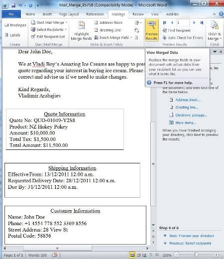dynamics crm 2011 mail merge templates showing quote