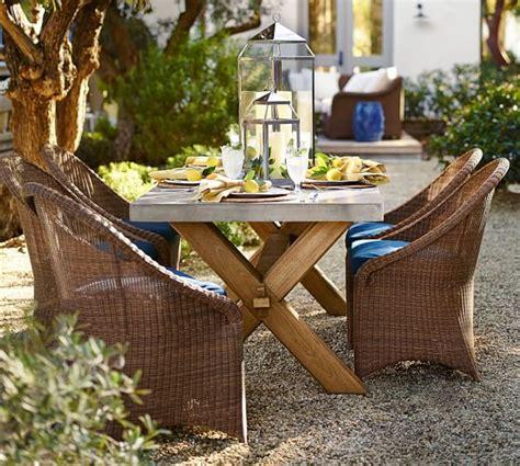 Abbott Zinc Top Dining Table Abbott Zinc Top Rectangular Fixed Dining Table Palmetto Chair Set Pottery Barn