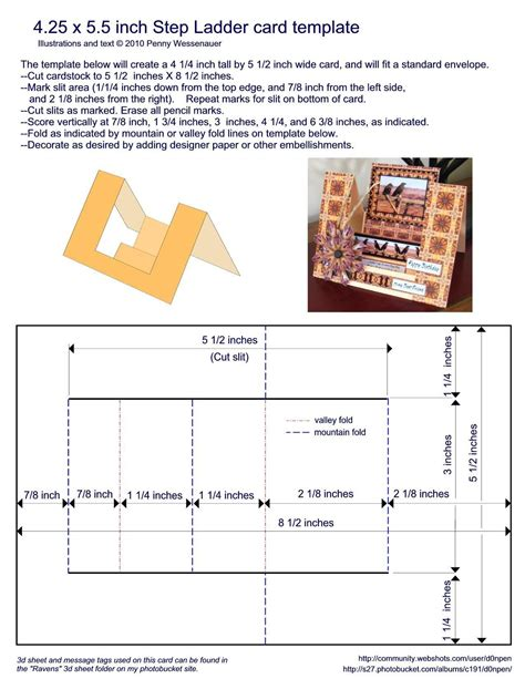 4 Step Card Template by Card Templates 4 25 X 5 5 Step Ladder Card Note The