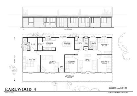 steel frame home floor plans earlwood 4 met kit homes 4 bedroom steel frame kit