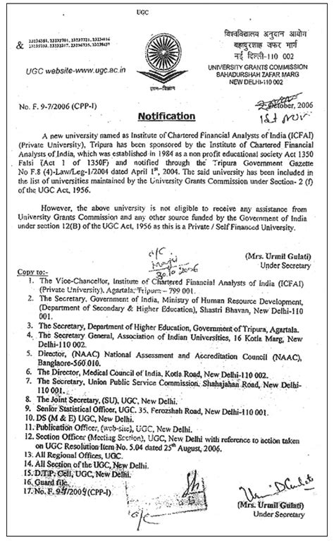 Award Letter Of Ugc The Icfai Tripura Time Cus Programs Distance Learning Programs Mba