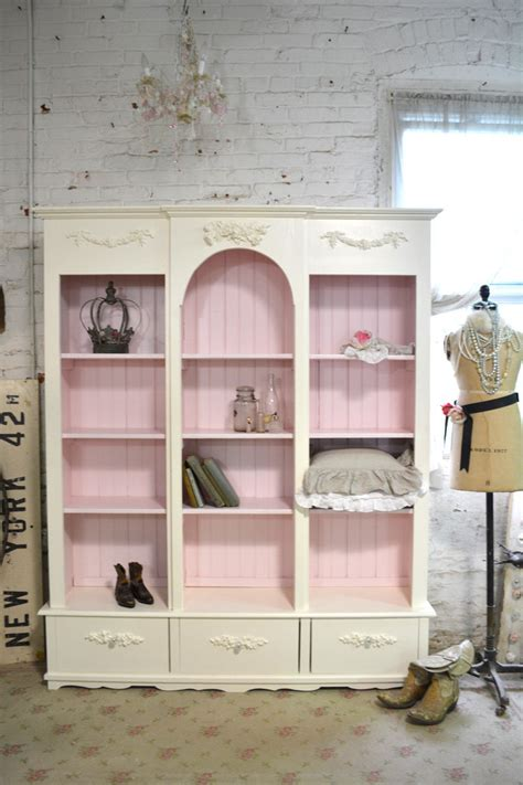 painted cottage chic shabby white handmade bookcase display