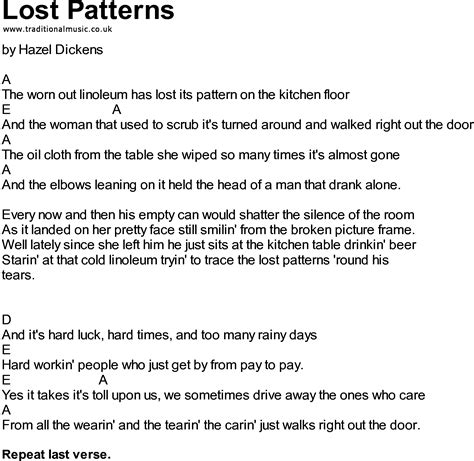 pattern song bluegrass songs with chords lost patterns
