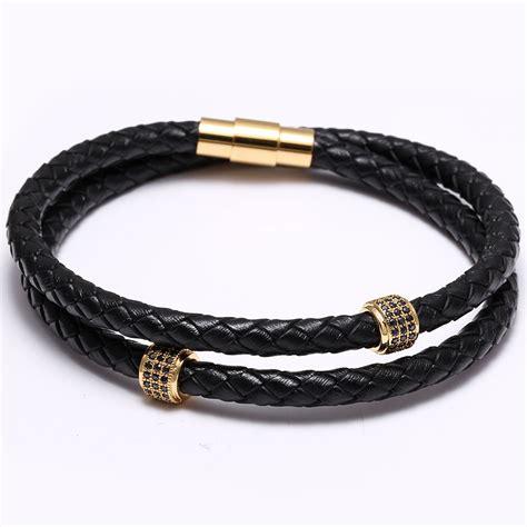zircon mens bracelets stainless steel black leather