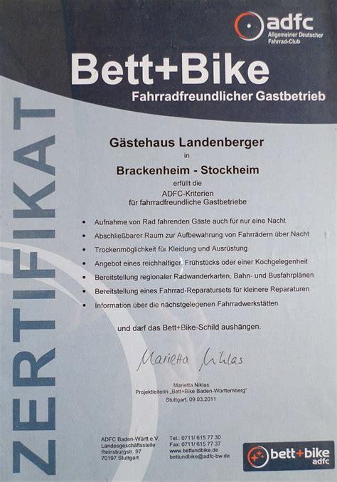 bett und bike bett und bike zertifikat