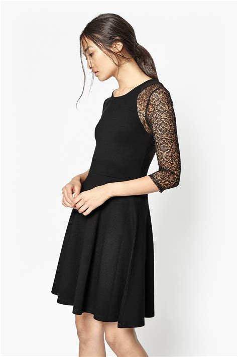Vianna Lace Dress Black connection vienna jersey and lace dress in black