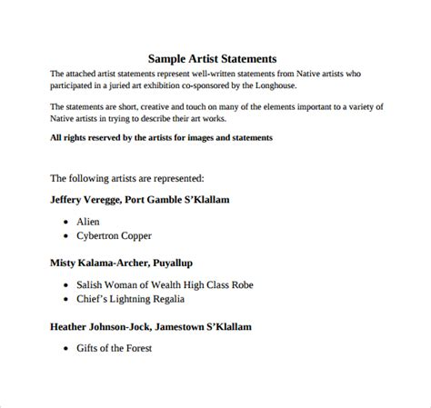 artist statement template sle artist statement 9 documents in pdf word