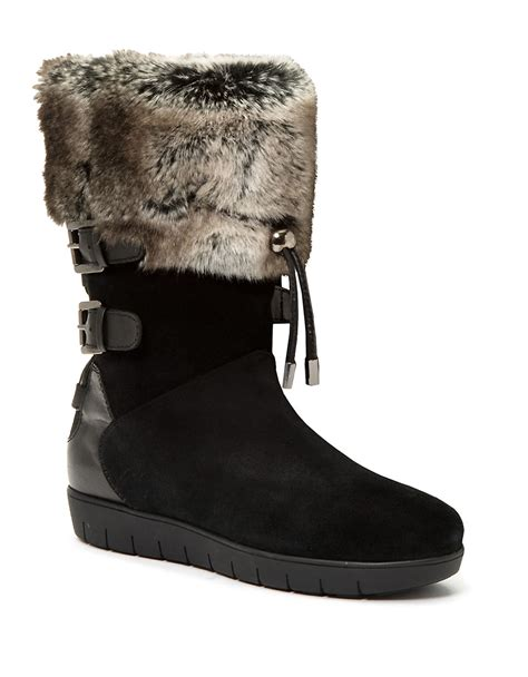 faux fur boots lyst aquatalia weslyn leather and faux fur lined boots