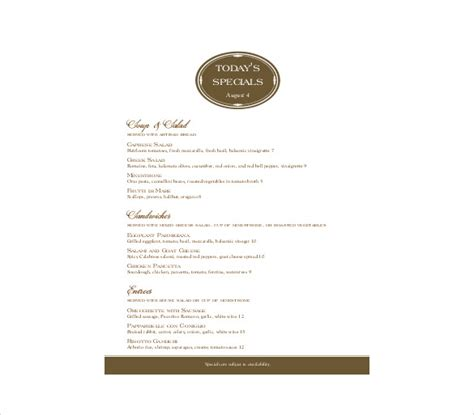 word templates for a menu free menu templates 31 free word pdf documents