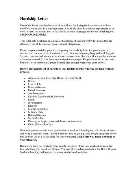 Hardship Explanation Letter Sle how to write a hardship letter hardship letter for
