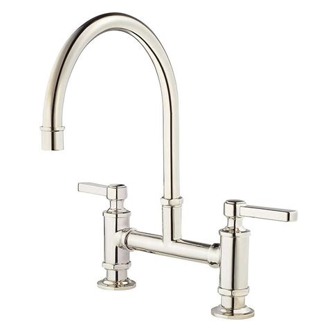 shop pfister port haven polished nickel 2 handle deck mount high arc kitchen faucet at lowes com