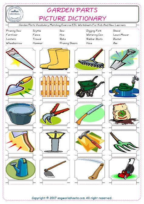 meaning of activities of gardening garden parts vocabulary matching exercise esl worksheets for and new learners