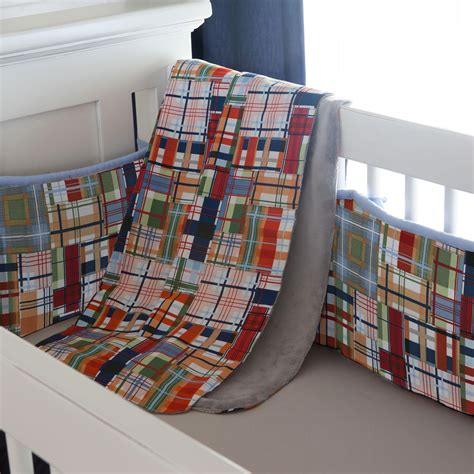 Patchwork Plaid Crib Blanket Carousel Designs