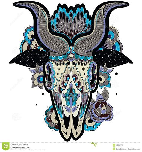 cool goat skull stock photo image of decor drawing