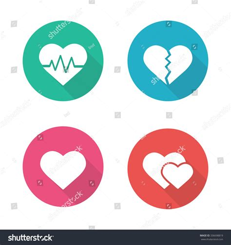 flat design icon heart heart shapes flat design icons set stock vector 336698819