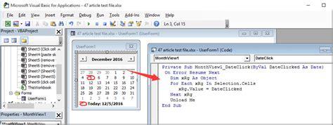 pop   calendar  clicking  specific cell