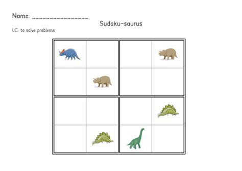 printable sudoku topical dinosaur maths by renosparks teaching resources tes