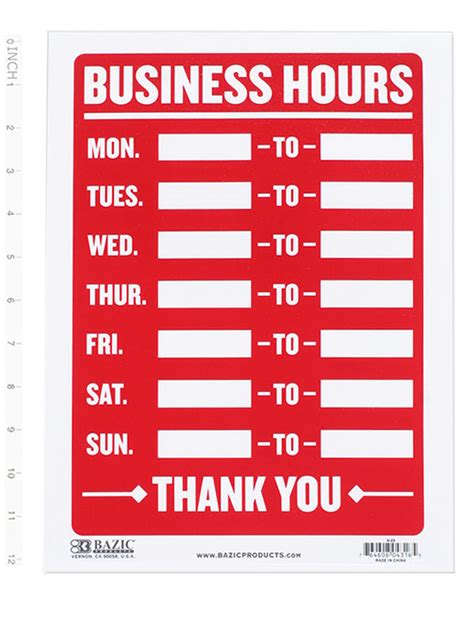 Business Hours Sign Open Mon Sun Write In From To Times Store Office Shop 9x12 Ebay Opening Hours Sign Template