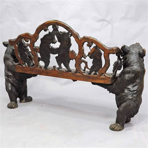 bear bench antique carved wood bear bench swiss brienz circa 1900