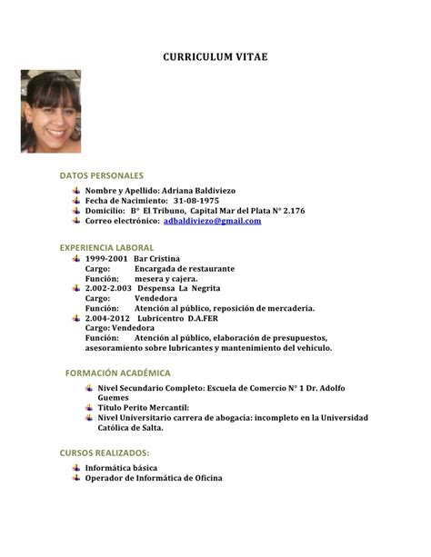 Modelo De Curriculum Vitae Completo Argentina Curriculum Vitae De