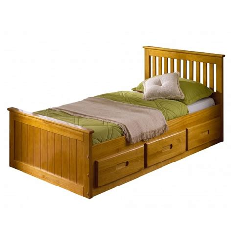 Wooden Single Bed With Drawers by Mission Wooden Single Bed In Honey Pine With 3 Drawers