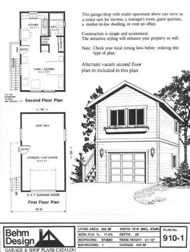 One Story Garage Apartment Plans by Garage Plans One Car Two Story Garage With Apartment