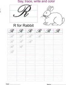 cursive captial letter r worksheet