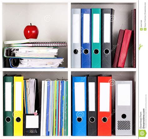 White Bookcase With Storage Folders On Shelves Royalty Free Stock Photos Image 34947488