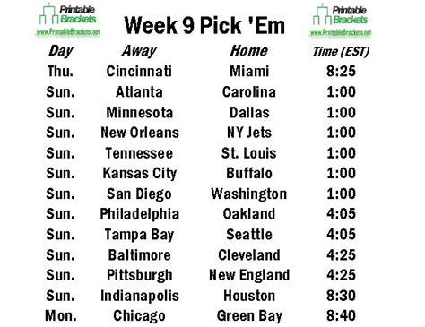 Office Football Pool Week 9 Nfl Em Week 9 Pro Football Em Week 9