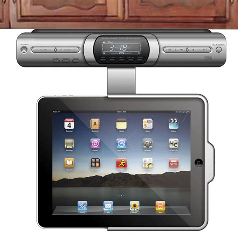 under tablet dock under radio with iphone dock cabinets matttroy