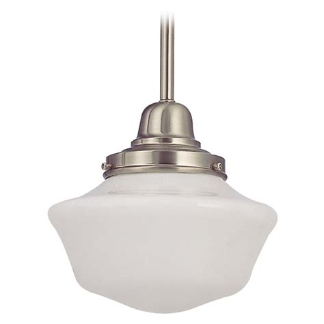 Schoolhouse Style Pendant Lighting 8 Inch Vintage Style Schoolhouse Mini Pendant Light In Satin Nickel Fb4 09 Ga8 Destination