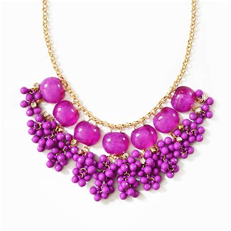 purple beaded necklace cluster drop necklace purple bib necklace with hanging