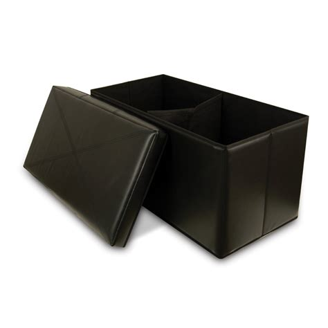 collapsible storage bench ottoman collapsible faux leather storage ottoman bench black