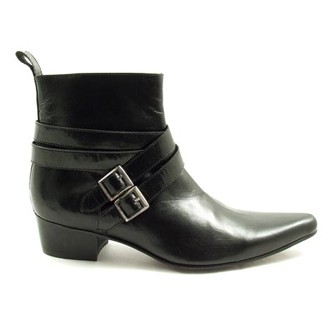 cool mens black buckle cuban heel boots gucinari
