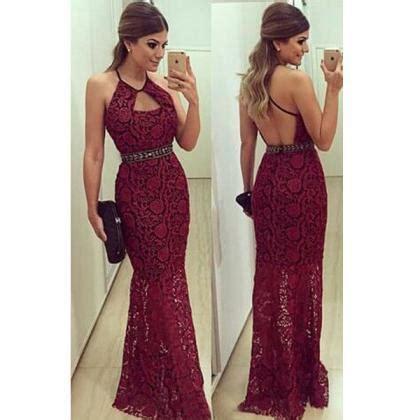 burgundy prom dresses backless prom dress lace prom dress