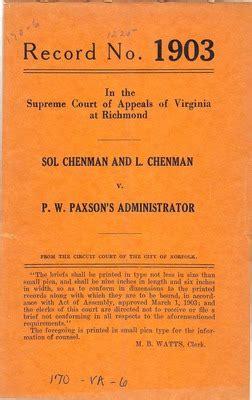 Va Court Cases Records Quot Sol Chenman And L Chenman V P W Paxson S Administrator Quot