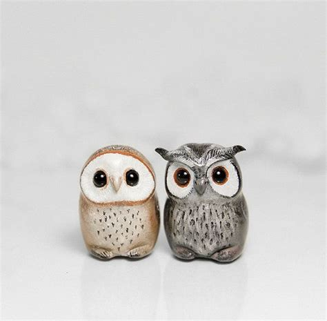 Handmade Owl - owl figurine ooak handmade polymer clay animal totem