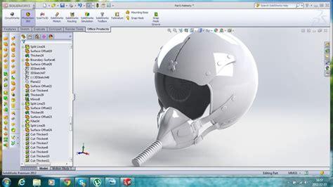 solidworks tutorial helmet fighter pilot helmet step iges solidworks 3d cad