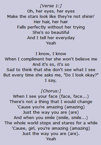 printable lyrics to just the way you are just the way you are lyrics bruno mars www pixshark com