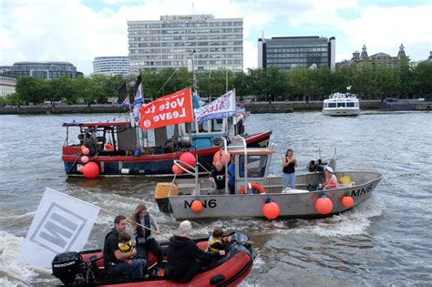 river thames boat fishing pictures farage flotilla clashes with bob geldof boat on