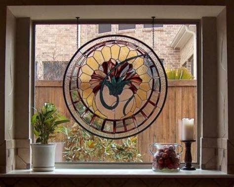 Bathroom Vanity Ensembles by Art Deco Lotus Stained Glass Hanging Panel Traditional
