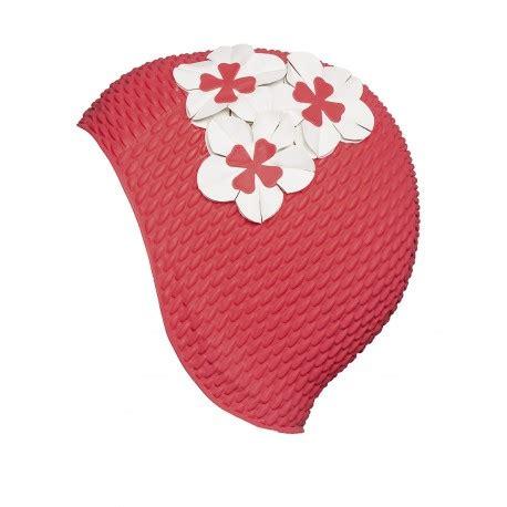 cuffie da bagno cuffia da bagno rossa con fiori bianchi