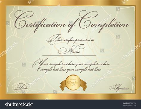 golden pattern award horizontal certificate completion template golden floral