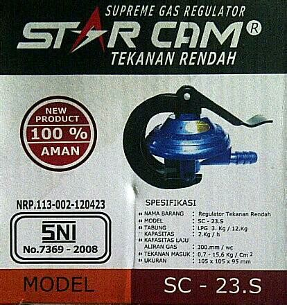 Regulator Gas Tekanan Rendah Starcam Sc 23m jual regulator kompor lpg starcam meter