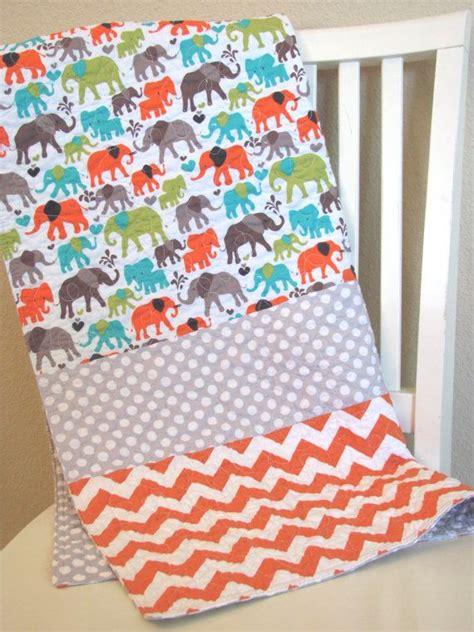 Ready Stelan Kulot Orange Grey baby quilt elephants chevron polka dots teal orange