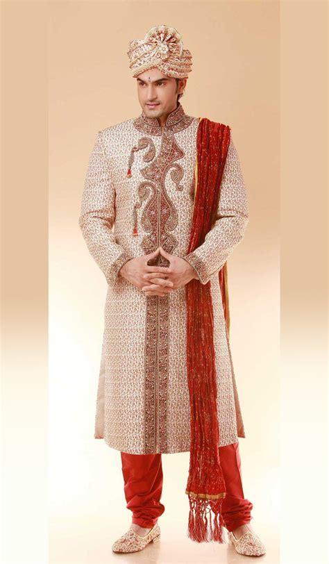 design dress for man cream and red brocade designer indian wedding sherwani for