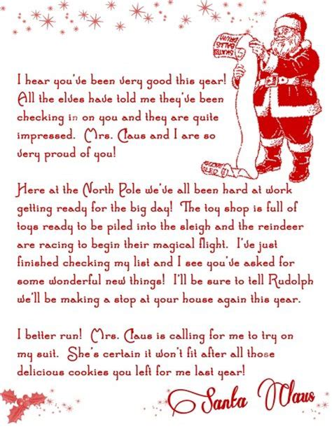 printable return letter from santa letter from santa christmas printable free christmas