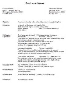 Resume Exles For Students In College by Sle College Student Resume Exles